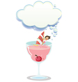A big glass with a juice and a girl sailing vector image vector image