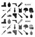 Army and armament black icons in set collection