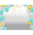 blue and white helium balloons on transparent vector image