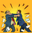 businessmen fighting conflict competition vector image vector image