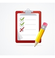 checklist on a red Board Flat Design vector image