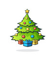 christmas tree with gifts under vector image