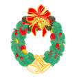 Christmas Wreath with bells and pine cone vector image