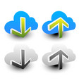 clouds with arrows upload download icons upload vector image vector image