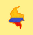 colombia - map colored with colombian flag vector image