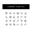 cowboys icon set with black color outline style vector image