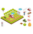 farm isometric composition vector image vector image