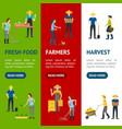 farmers work 3d banner vecrtical set isometric vector image vector image