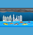 flooding water in city rain and flood concept vector image