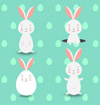 four rabbits on blue eggs background vector image
