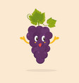 funny happy grape character design vector image vector image