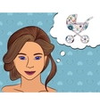 Girl think with speech bubble baby carriage vector image vector image