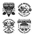 gold mining set four monochrome emblems vector image vector image