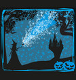 halloween invitation with witch vector image