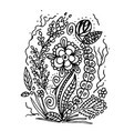 hand drawn doodle sketch of flowers vector image