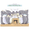 happy groundhog day with group of men in cylinder vector image