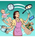 Housewife work time family success woman vector image