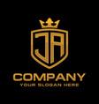 initial ja luxury logo design vector image