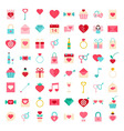 Love flat style icons vector image vector image