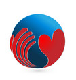 loving heart with global world logo vector image