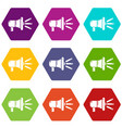 megaphone icons set 9 vector image