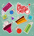 new year paper stickers set vector image