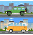 off road car and retro bus in urban landscape vector image vector image