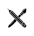 pencil and paint brush black icon sign on vector image