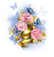 pink roses with gold ribbon vector image vector image