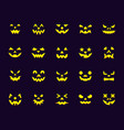 pumpkin face simple flat color icons set vector image
