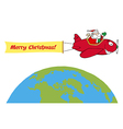 Santa flying plane cartoon vector image