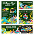 school sale special offer poster of student items vector image vector image