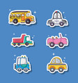 set different transportation patches element vector image