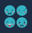 set emoticons kawaii characters vector image