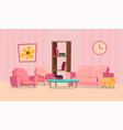 set of elements for pink living room flat design vector image
