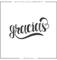 Thank you Phrase in Spanish handmade Gracias vector image vector image