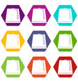 turkish fez icon set color hexahedron vector image vector image