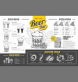vintage beer menu design restaurant menu vector image vector image