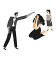violent behavior man pointing to wife and vector image vector image