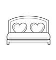 wedding bed line icon vector image vector image
