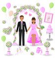 wedding decorations in pink color vector image vector image