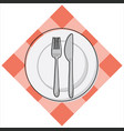 white plate with cutlery - top view vector image vector image