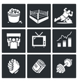Wrestling Icons Set vector image vector image