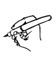 writting hand with pen doodle hand drawn vector image