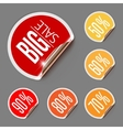 Set of Discount Labels with Curled Gold Edge vector image