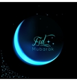 Eid Mubarak background with shiny moon and stars vector image