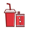sweet soda in can and paper cup with straw vector image