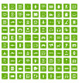 100 adjustment icons set grunge green vector image vector image