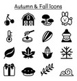 autumn fall winter icon set vector image