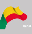 background with benin wavy flag vector image vector image